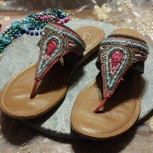 Grazie Pink Embellished Thong Sandals 8